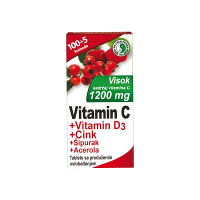 Vitamin C 1200mg + Vitamin D3 + Cink + Šipurak + Acerola tbl a105