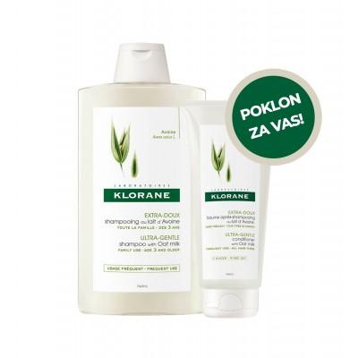 Klorane Šampon za često pranje kose s ekstraktom zobi 400ml + Klorane Balzam sa zobenim mlijekom 200ml GRATIS