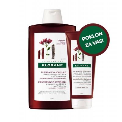Klorane Šampon za jačanje korjena kose s kininom 400ml + Klorane Balzam s kininom 200ml GRATIS