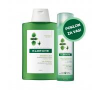 Klorane Šampon za masnu kosu s ekstraktom koprive 400ml + Klorane Suhi šampon s koprivom 150ml GRATIS
