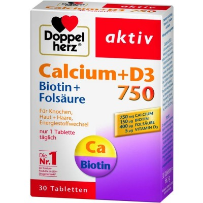 DOPPEL HERZ Aktiv Calcium + D3 750 tbl A30