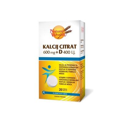 NW Kalcij citrat 600mg + D400 i.j. eff. A20